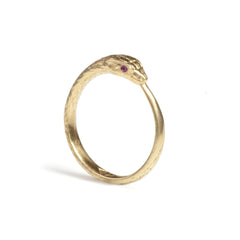 Gold Ouroboros Snake Ring Limited Edition with Precious Stones, Rachel Entwistle
