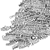 Ireland Type Map, Run For The Hills - CultureLabel - 7 (white; close up far left corner)