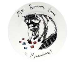Mr Raccoon Loves A Macaroon Side Plate, Jimbobart