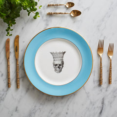 Blue Skull in Crown Dinner Plate, Melody Rose