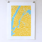 Map of NYC - yellow/sky blue, Ursula Hitz - CultureLabel - 4 (hung)