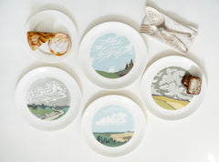 Set of Four Cloud Dinner Plates, Snowden Flood