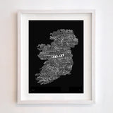 Ireland Type Map, Run For The Hills - CultureLabel - 4 (black; framed)