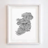 Ireland Type Map, Run For The Hills - CultureLabel - 2 (white; framed)