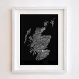 Scotland Type Map, Run For The Hills - CultureLabel - 4 (black; framed)
