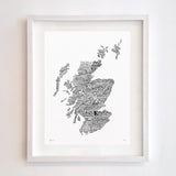 Scotland Type Map, Run For The Hills - CultureLabel - 3 (white; framed)