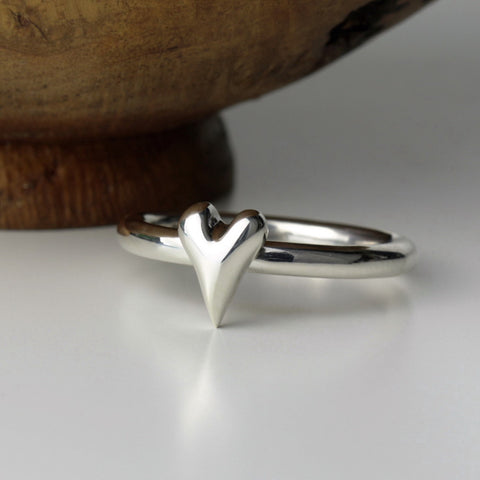 Handmade Wild at Heart Sterling Silver Heart Ring, Pretty Wild Jewellery