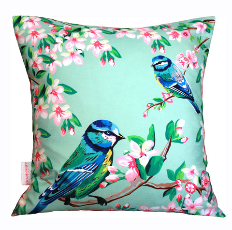 Blue Tits and Flowers Silk Cushion, (full view) Chloe Croft - CultureLabel - 1