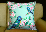 Blue Tits and Flowers Silk Cushion, (full view on sofa) Chloe Croft - CultureLabel - 2