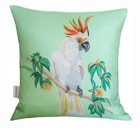 Cockatoo Cushion, Chloe Croft (green full view)- CultureLabel - 1