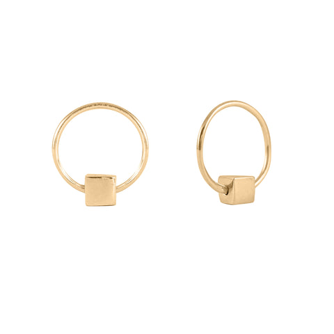 Cube & Hoop Earrings Gold, Lee Renée