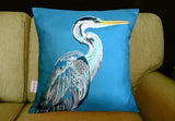 (On sofa) Blue Heron Charity Silk Cushion, Chloe Croft - CultureLabel - 2