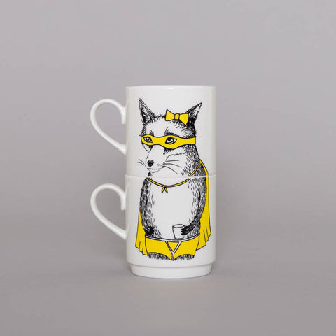 Bandit Fox Stackable Tea Mugs, Jimbobart - CultureLabel