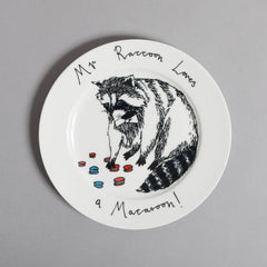 Mr Raccoon Loves A Macaroon Side Plate, Jimbobart Alternate View