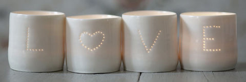 Love Heart Letter Linis Tealight Holder Set, Luna Lighting - CultureLabel - 1