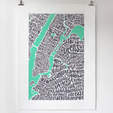 Map of NYC - pastel green, Ursula Hitz - CultureLabel - 3 (hung)