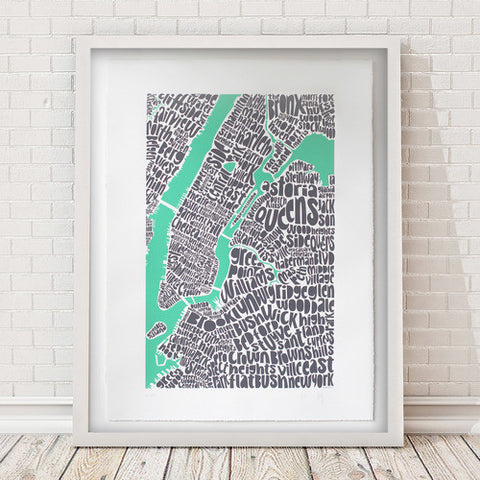 Map of NYC - pastel green, Ursula Hitz - CultureLabel - 1 (framed)