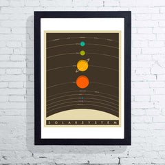 Framed Solar System (Brown) by Jazzberry Blue
