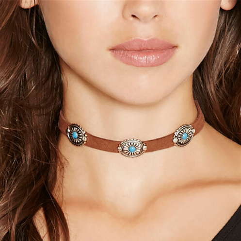 Brown Leather Rope Choker Necklace