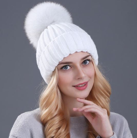 Women's Mink and Fox Fur Ball Winter Beanies
