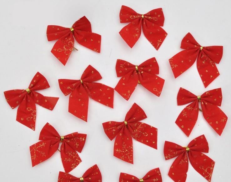 Christmas Tree Sparkling Hanging Red Bow - 24 Pieces