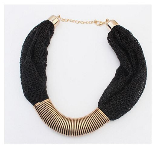 Trendy Fashion Statement Net Cloth Choker Necklace OFFER