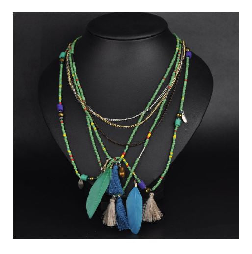 Ethnic Feather and Chain Statement Necklace
