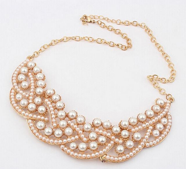 Elegant Simulated Pearl Collar Necklace