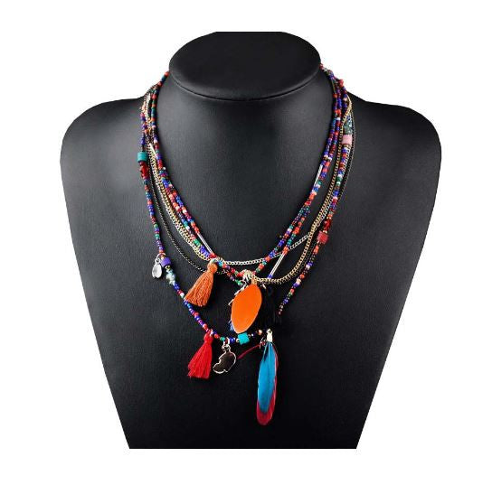 Ethnic Feather and Chain Statement Necklace OFFER