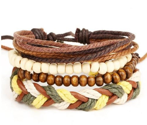 Native Ethnic Wood Leather Stone Bracelet for Men / Women, todays deal, hot deal, daily deal