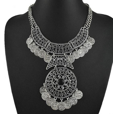 Bohemian Silver Plated Turkish Coin Necklace