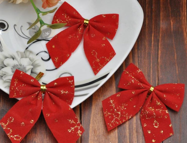 Christmas Tree Sparkling Hanging Red Bow - 24 Pieces OFFER