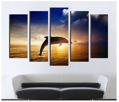 Modern Wall Art Canvas Oil Painting - Dolphin