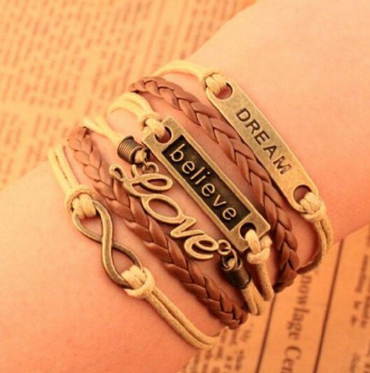Vintage Multi Layered Leather Charm Bracelet