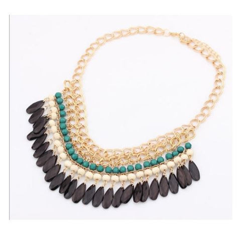 Green Bohemian Link Chain Collar Necklace Water Drop