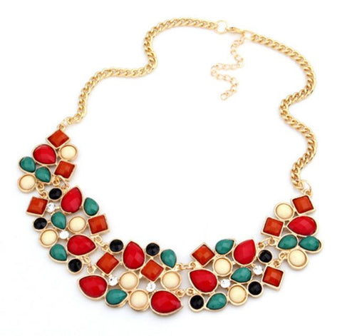 Red Bohemian Link Chain Statement Necklace