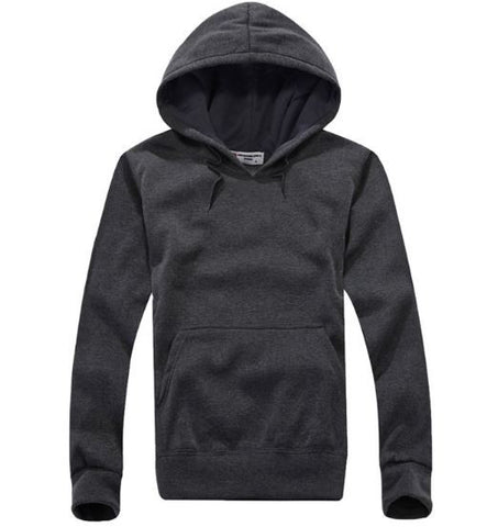grey Long Sleeved Cotton Casual Hoodies