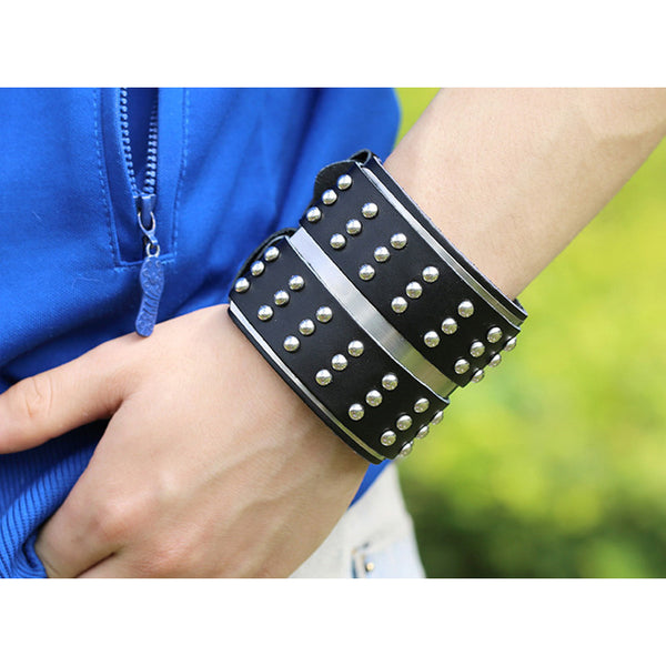 Wide leather punk fashion exaggerated double bracelet with rivets
