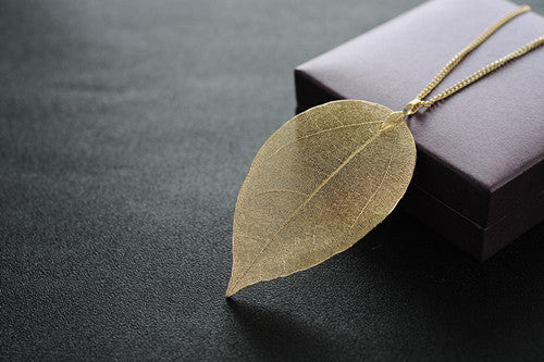 New Arrival Golden True Leaf Pendant and Necklace