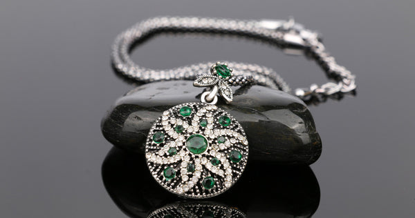 free Green Bohemian Vintage Mosaic Crystal Jewelry, best deal of day