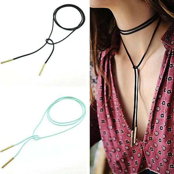 Trendy Leather Rope Copper Tube Collier Bijoux Necklace OFFER