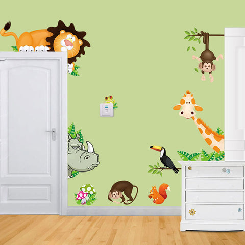 Green Cute Jungle Animal Removable DIY Wall Stickers For Kids