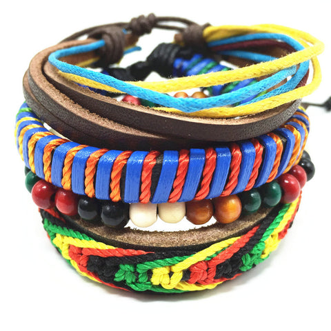 Free Ethnic Wood Leather Stone Bracelet for Men / Women