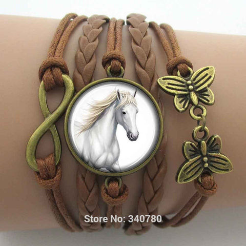 Women's Love Horse Infinity Bracelets Leather Cords Wrap Bangle