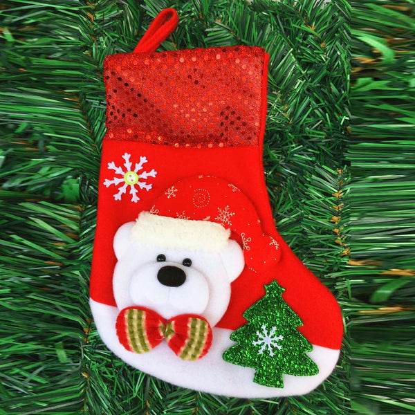 Free Bear Christmas Sock Stocking Wall Hanging Decoration