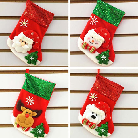 White Christmas Sock Stocking Wall Hanging Decoration