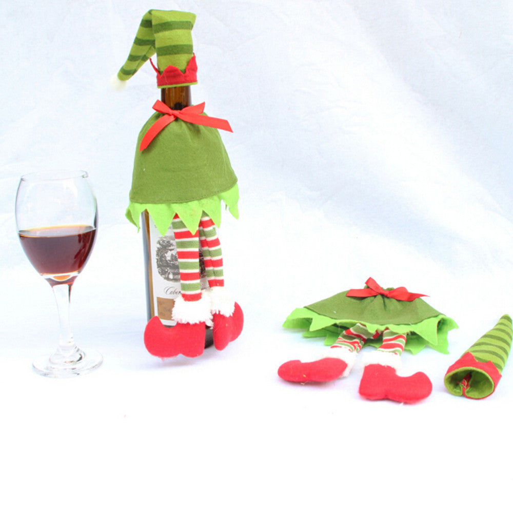 Free Blue Christmas Wine Bottle Cover in Elf Designs