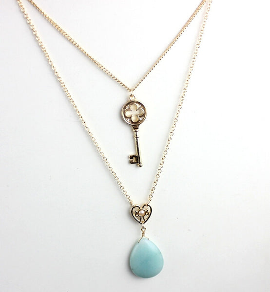 New Design Gold Blue Natural Stone and Key Multi-layer Necklace