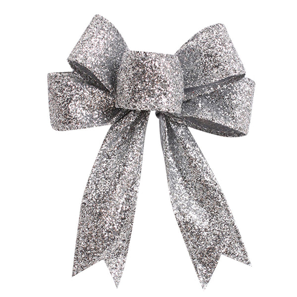 Silver Christmas Tree Bow Knot Ornamental Decorations