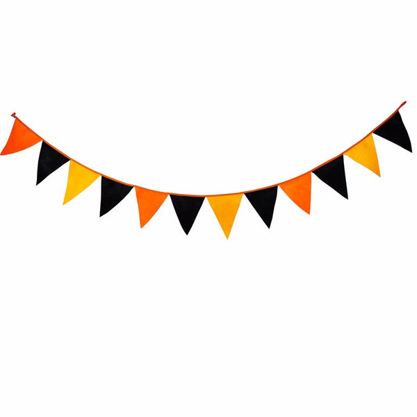 Halloween Black and Yellow Fabric Pennant Flag Banner